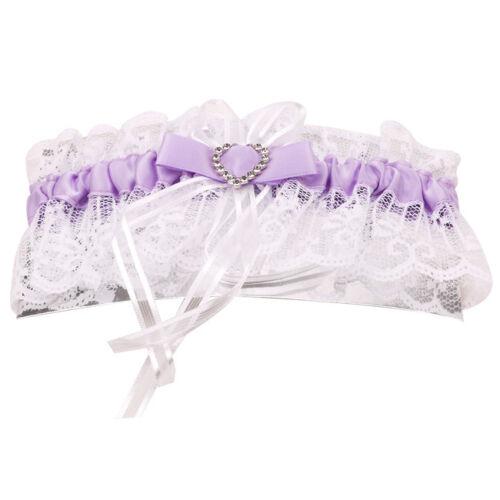 Garter Band Crystal Heart Satin Ribbon Wedding Bridal Prom Stretchy Lace New Q