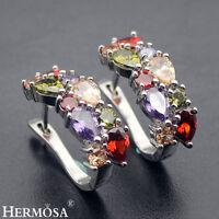 75% OFF Natural Morganite Amethyst Garnet Peridot 925 Sterling Silver Earrings