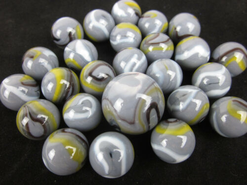 25 Glass Marbles WOLF Grey Black Yellow White Gray game vtg style Shooter Swirl