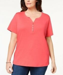 731981a165a Karen Scott Size XS Top Womens Coral Short Sleeve Henley T-Shirt ...