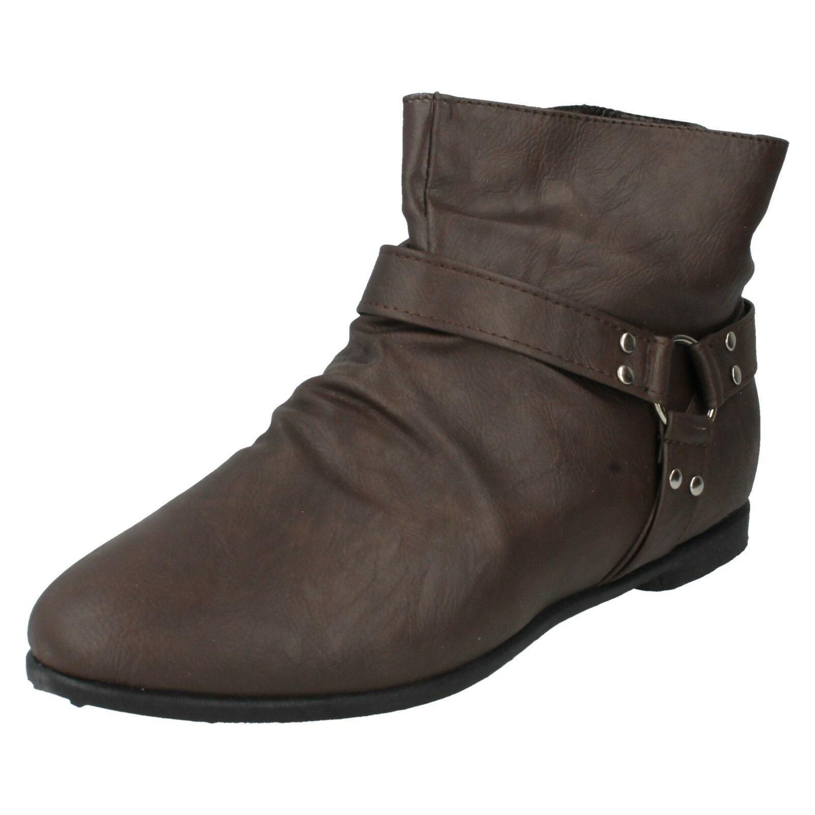 SPOT ON LADIES FLAT ZIP UP CASUAL WINTER WOMENS ANKLE BOOTS F4346