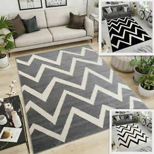 Black Grey Rug Zig Zag Pattern New Extra Large Size Bedroom Carpet Modern Design