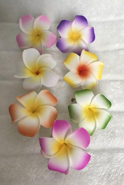 1 Pince Clip Barrette Cheveux Fleur Frangipane Frangipanier Hawai Couleur Choix Scelta Materiali