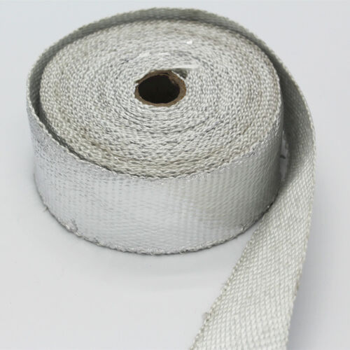 """2/"""" x 5M Silver Exhaust Heat Wrap Manifold Downpipe High Temp Bandage Tape Roll"""
