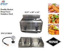 Double Bin Deep Fryer Stainless Steel Two Basket Propane Regulator