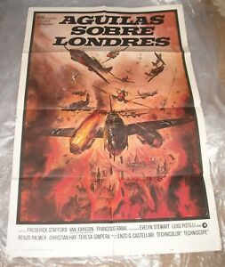 1970-AGUILAS-SOBRE-LONDRES-1-SHEET-MOVIE-POSTER-WAR-FILM-NICE-PAINTED-ARTWORK