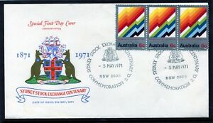 1971-Sydney-Of-Stock-Exchange-Centenary-WCS-Unaddressed-Strip-Of-3-FDC-VGC