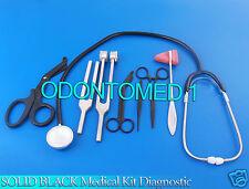 Solid Black Medical Kit Diagnostic Emt Nursing Surgical Ems Student Paramedic