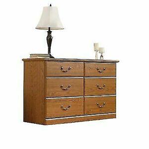 Sauder 401410 Carolina Oak Finish Orchard Hills Dresser 6 Drawer