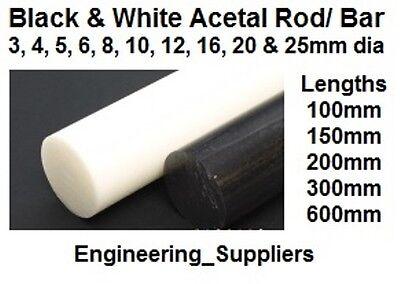 Acetal (Ertacetal C) White & Black Round Rod 3 - 25mm Dia, 100 - 600mm long bar