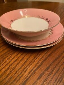 Cunningham-amp-Pickett-China-Pink-Gold-And-Cream-Dessert-Plate-2-amp-Berry-Bowl-1
