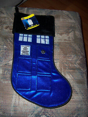 Who Christmas Stocking Blue TARDIS Police Box Kurt Adler Gift BBC Doctor Dr