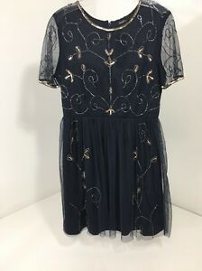 BOOHOO BOUTIQUE WOMEN S ELA EMBELLISHED SKATER DRESS NAVY US SZ 6 ... fa43d1111