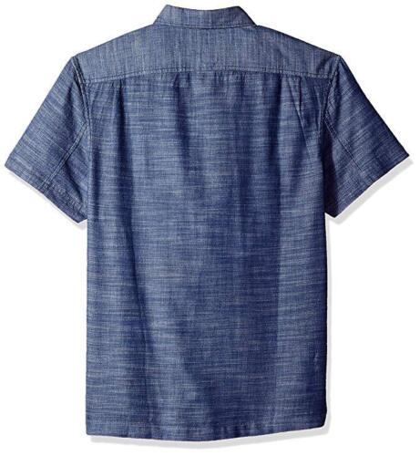 Original Penguin Short Sleeve Camo Camouflage Denim Blue Shirt Casual M New