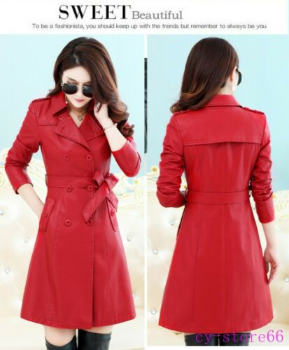 Womens Long Slim Fit PU Leather Trench Coat Double Breasted Belt Outwear jacket