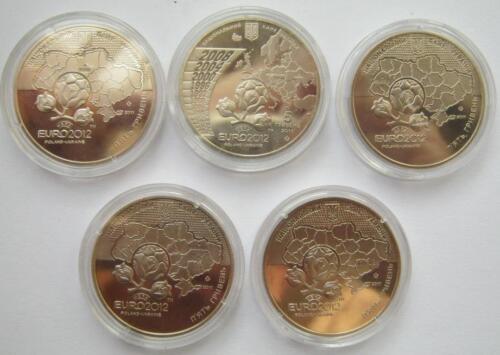 Ukraine 2012 football Lemberg-Zp set 5 coins of 5 Hryven 2011 UNC EURO