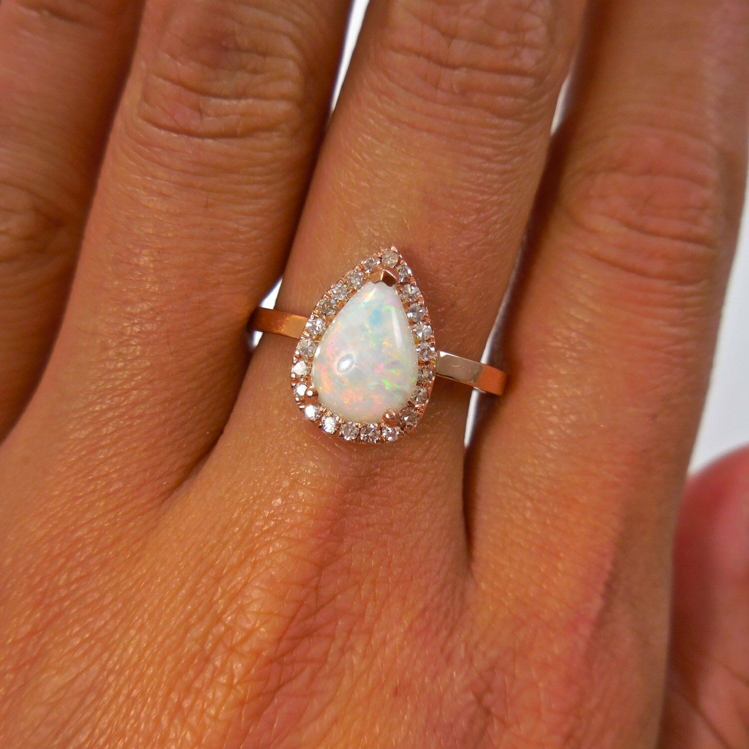 14k solid gold ring natural diamond ring moon stone ring engagement ring DER245