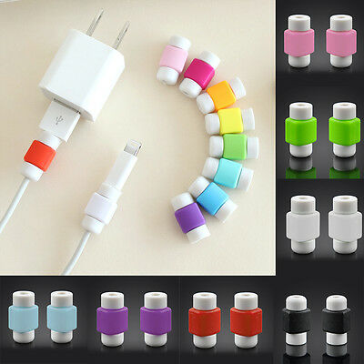 4pcs Colorful For iPhone Lightning Cable Support Saver Protector Casing Plug