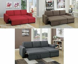 2pc Sectional Set Polyfiber Sofa w Pull out Bed Chaise w/Storage in 3 Colors