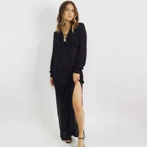 Haute Hippe Black Lace-Up Crepe Silk Maxi Dress Women's Size XS