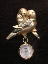 Vintage Watch Brooch Bird Parrots Love Birds