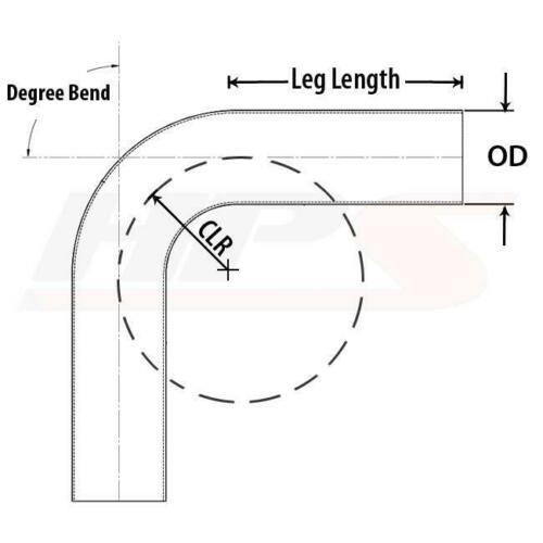 "HPS 1-3//4/"" OD 90 Degree Bend 6061 Aluminum Elbow Pipe Tubing 16 Gauge w// 2/"" CLR"