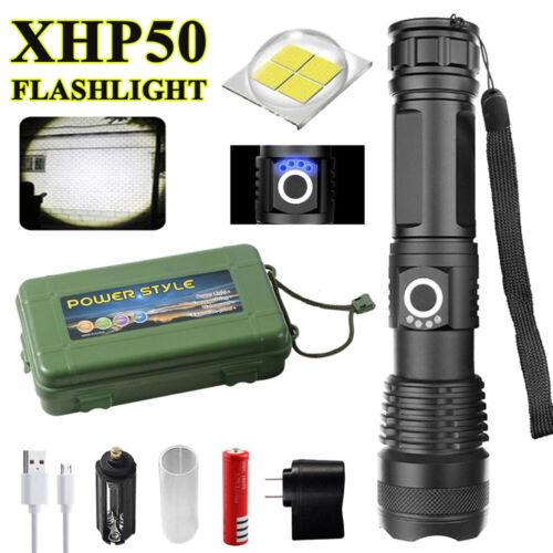 XHP50 LED High Power Flashlight Telescopic Zoom Tactical Torch USB Waterproof