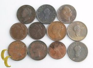 1806-1891-Great-Britain-Halfpenny-Lot-aG-XF-11-coins-England-1-2-Half-Penny