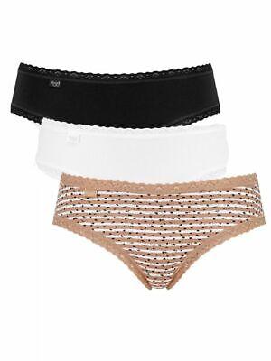 Sloggi Weekend Hipster 3 Pack Cotton Briefs Red White Black Sizes 8-16