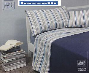Draps-Coton-BASSETTI-ASTON-Unique-1-personne-Double-Lit-2-places