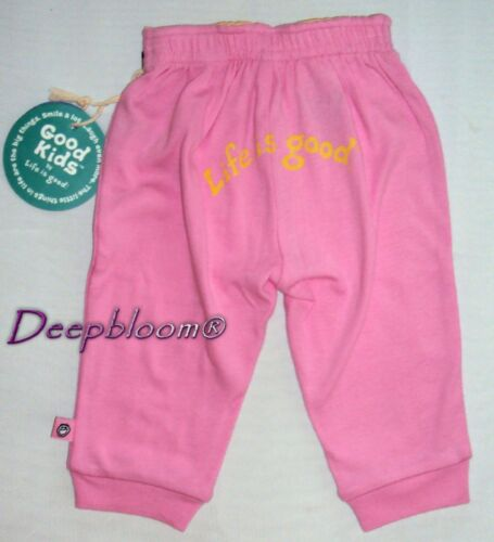 LIFE IS GOOD ATHLETIC PANTS GIRLS PRINTED BACK PINK 3 6 12 MONTHS NEW