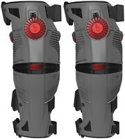 Mobius X8 Mx Dirt Bike Motocross Knee Brace (pair) Grey/ Crimson All Sizes