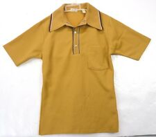 Vintage 70s Edwards California Rust Tan Polyester Knit Collared Polo Mob Shirt S