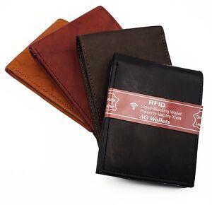 Slim RFID Wallet - Premium Cowhide Leather, Bifold, Flip ID Flap, Scan Proof