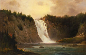Oil-painting-Robert-Duncanson-Waterfall-Mont-Morency-free-shipping-landscape-art