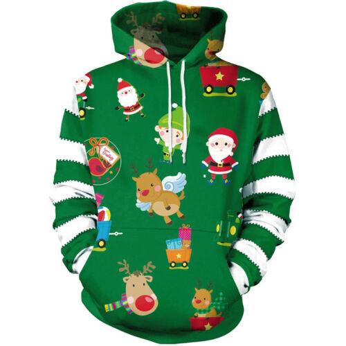 Men Christmas 3D Graphic Print Xmas Hoodie Sweatshirt Pullover Jumper Tops Shirt
