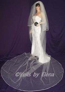 """Wedding Bridal Veil Gothic Cathedral Costume 108/"""" Width 108/"""" Length Pencil Edge"""