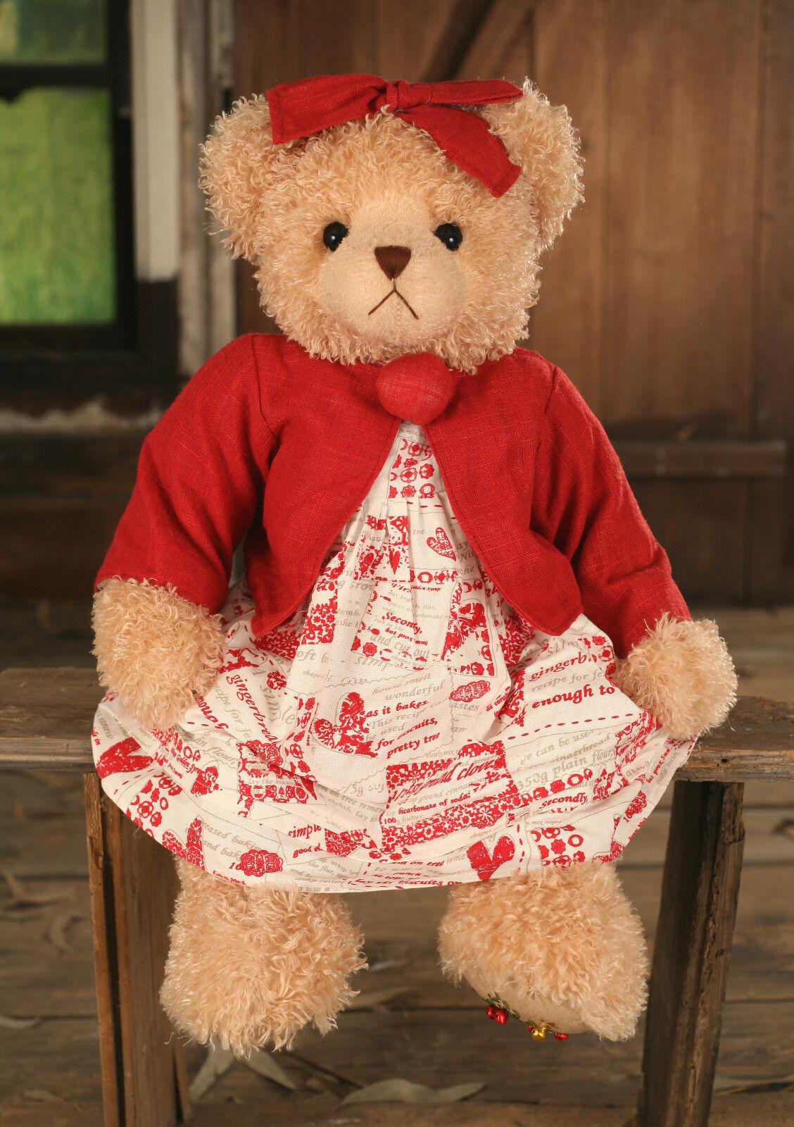 Teddy Bear 'Martha' Settler Bears Handmade Christmas Gift Dress 58cms NEW