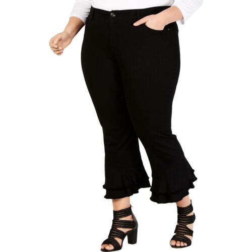 INC Womens Denim Ruffled Tummy Slimming Ankle Pants Plus BHFO 2064