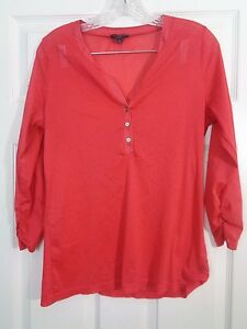 The-Limited-Women-039-s-Top-Sheer-Red-Polka-Dot-Tunic-3-4-Sleeve-Size-Large