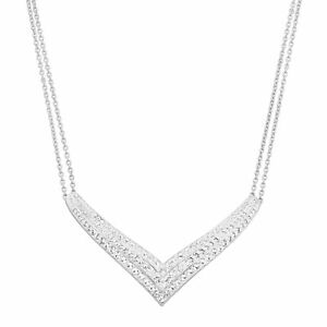 Chevron Double-Chain Necklace with Swarovski Crystals in Sterling Silver