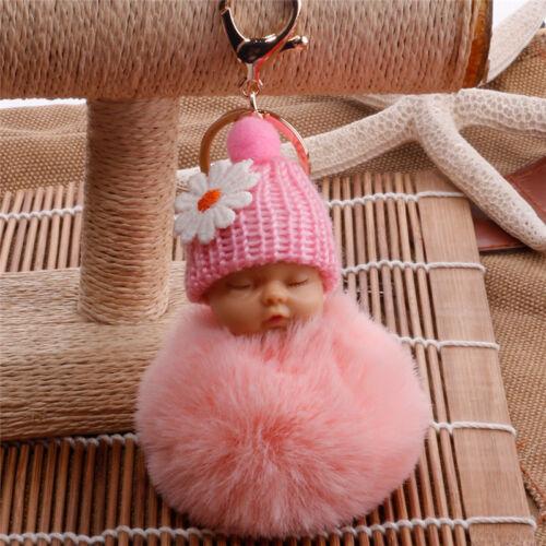 Cute Sleep Baby Doll Key Chains Rabbit Fur Ball Car Keyring Bag Key Pendant 50