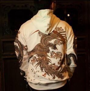 Mens-Sweatshirt-Sukajan-Hoodie-Chinese-Dragon-Embroidered-Hooded-Short-Tops-Size
