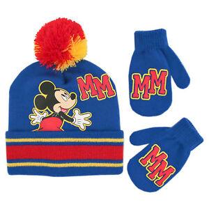 4-7 Disney Minnie Mouse Girl/'s Black//Red Striped Beanie /& Gloves Set Sz