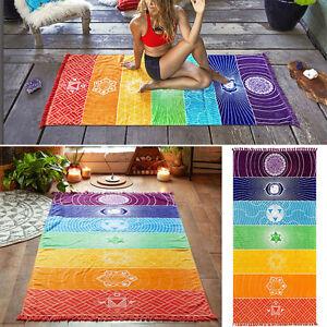 Rainbow Camping Towels Boho Chakra Tapestry Yoga Mat Outdoor Beach Blanket