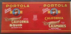 Monterey Calif 1940 WWII Ocean Fresh Squid Calamares Vintage Original Label