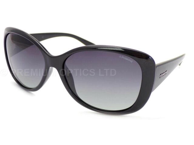 a6b55ad9950b3 POLAROID women s Shiny Black Sunglasses Polarized Smoke Grey Gradient P8317  KIH