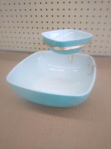 Vintage Pyrex Chip & Dip Set Bracket Blue Turquoise Square 2.5 Qt 12 oz Bowls
