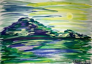 ORIGINAL-Malerei-A3-PAINTING-art-abstrakt-Landschaft-landscape-abstract-aquarell