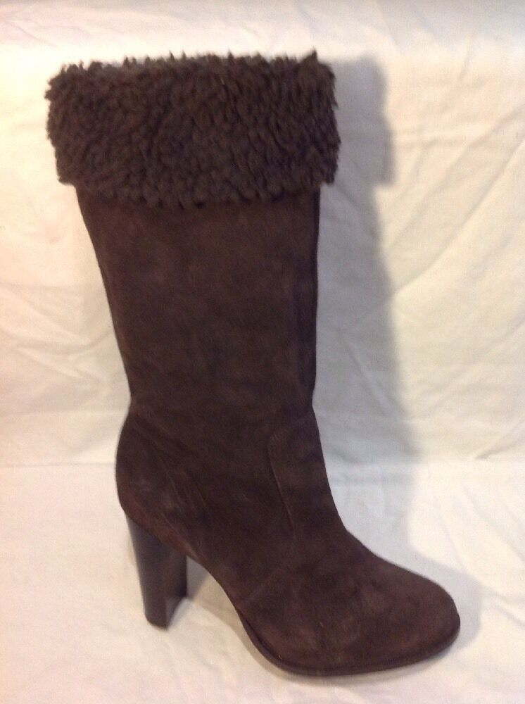 Lili Brown Mid Calf Suede Boots Size 40